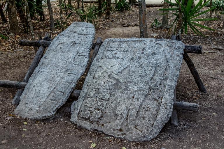 """""""Stelaer"""" stentavler med inskriptioner og billeder af guder, konger og hellige dyr."""
