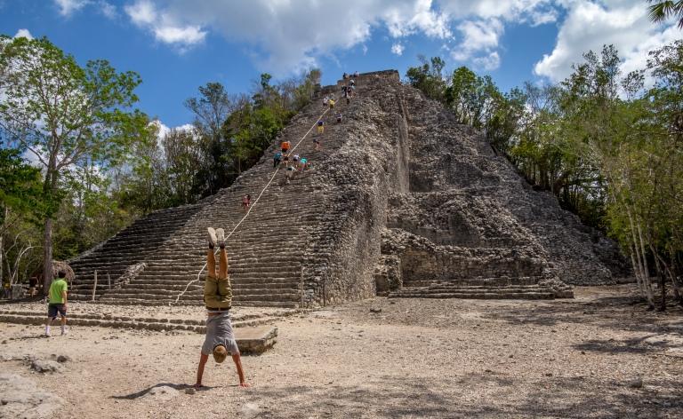 Nohoch Mul! Meget hæj pyramide som skulle bestiges!